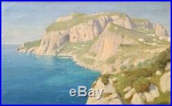 Willem Welters, Paysage de bord de mer à Capri, Huile sur toile, tableau signé