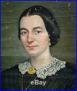 Winsch Portrait de Femme Epoque Second Empire Huile sur Toile XIXème siècle