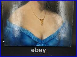 XIX ème s, portrait d'une élégante au corsage bleu
