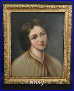 XIX ème s, portrait de fillette huile sur toile