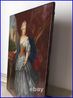 XIXe Tableau ancien Portrait femme élégante Comtesse Duchesse 19ème A Restaurer