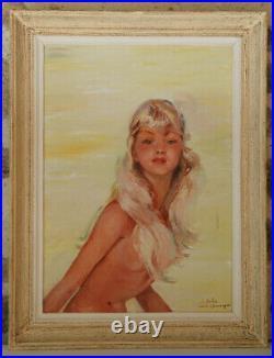 XXe Portrait Huile Femme DEHO d'après Jean Gabriel DOMERGUE Affiche Monte-Carlo