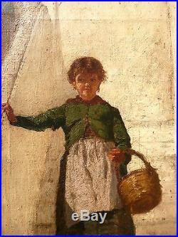 École Napolitaine, La petite fille, Edoardo DALBONO(1841-1915) Tableau ancien
